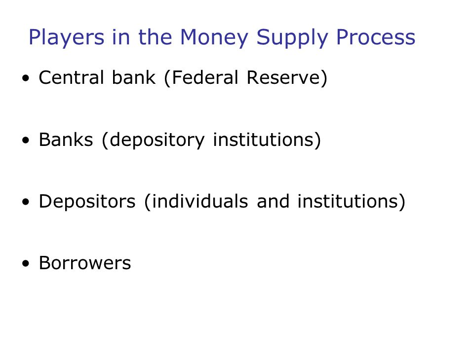 Players in the Money Supply Process