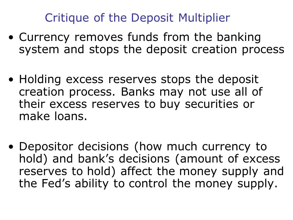Critique of the Deposit Multiplier