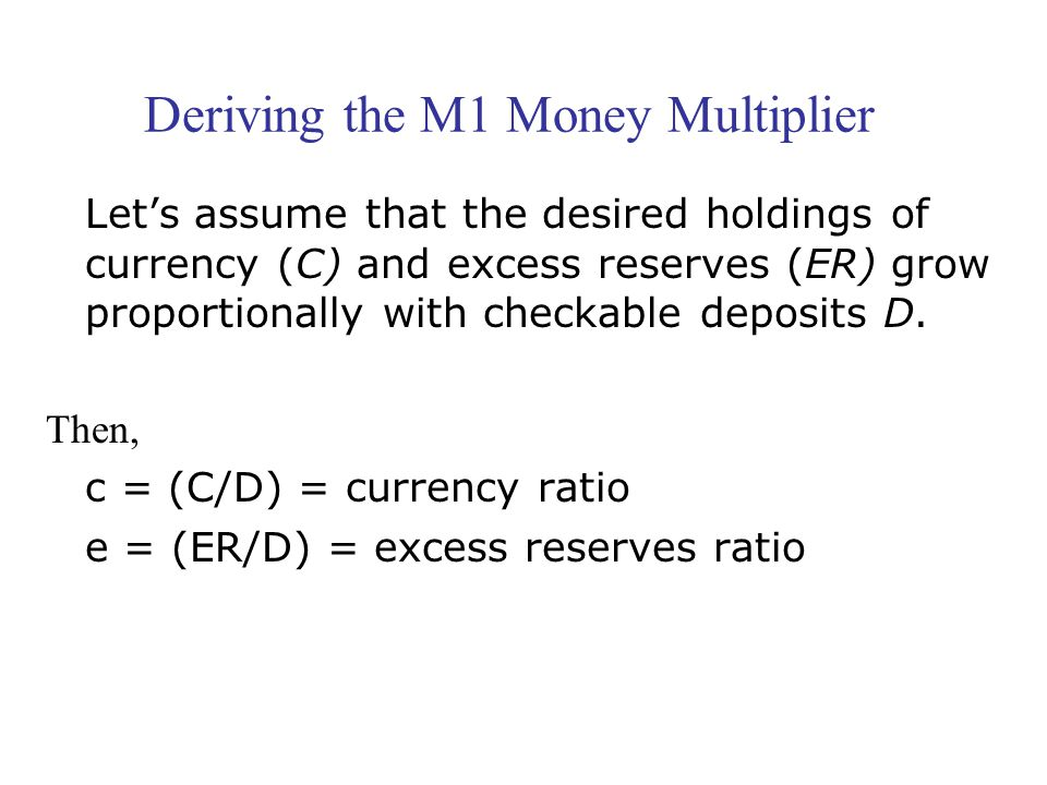 Deriving the M1 Money Multiplier