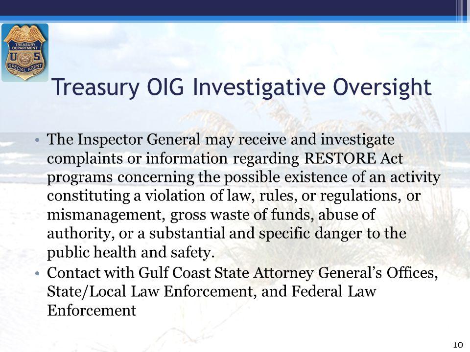 Treasury OIG Investigative Oversight
