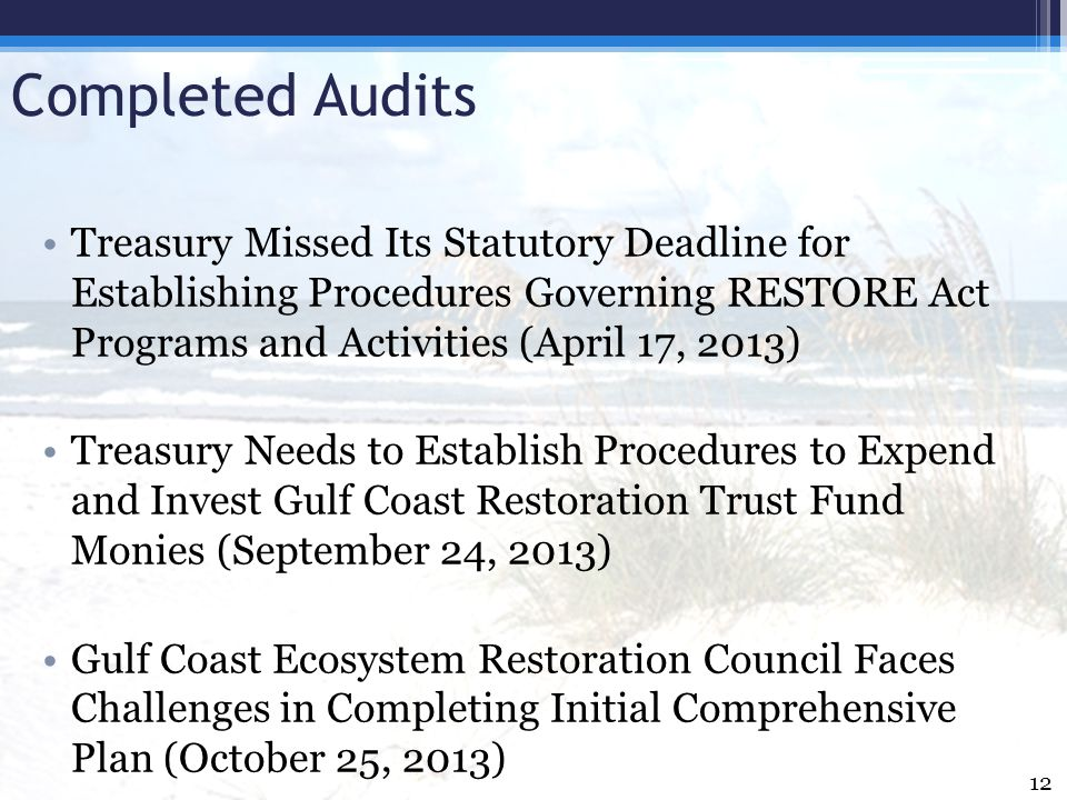 Completed Audits Treasury Missed Its Statutory Deadline for Establishing Procedures Governing RESTORE Act Programs and Activities (April 17, 2013)