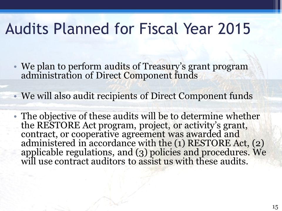 Audits Planned for Fiscal Year 2015