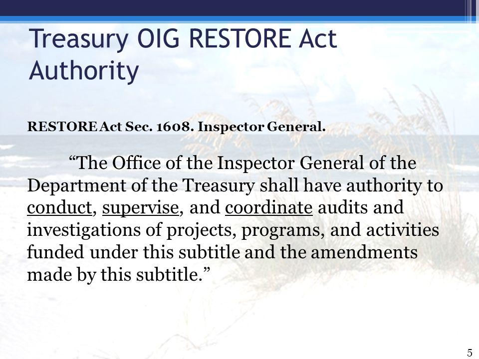 Treasury OIG RESTORE Act Authority