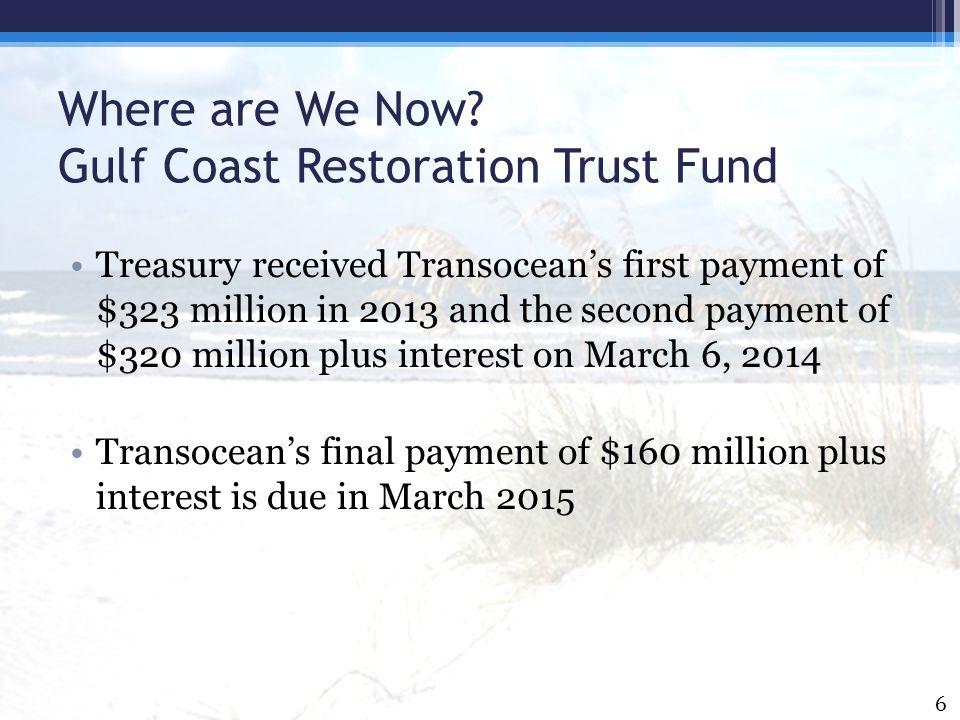 Where are We Now Gulf Coast Restoration Trust Fund