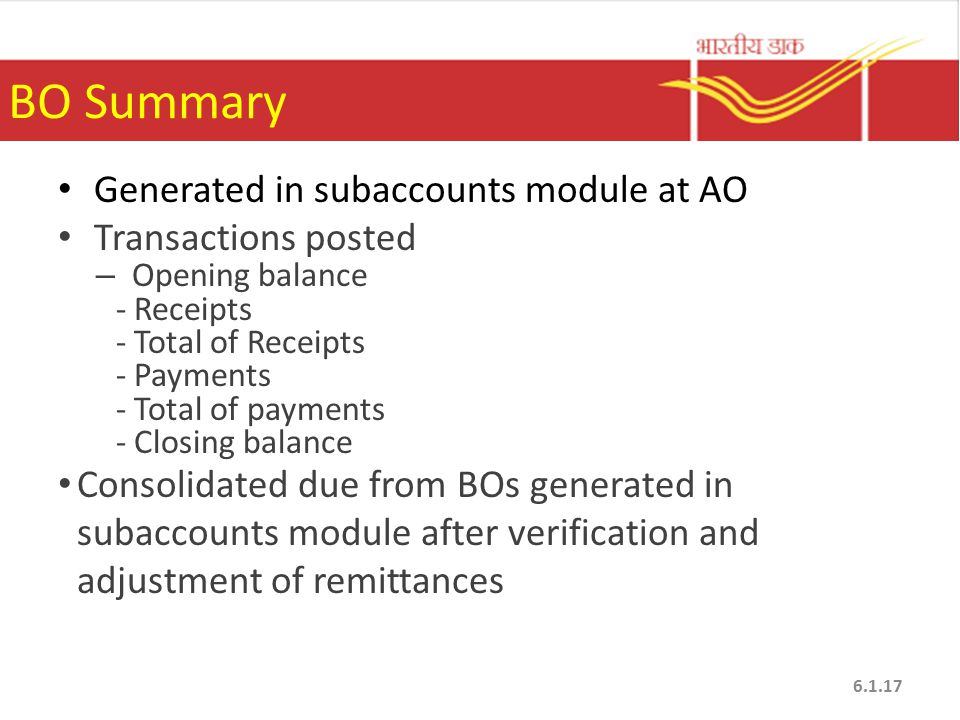 BO Summary Generated in subaccounts module at AO Transactions posted