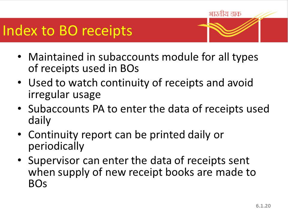 Index to BO receipts Maintained in subaccounts module for all types of receipts used in BOs.