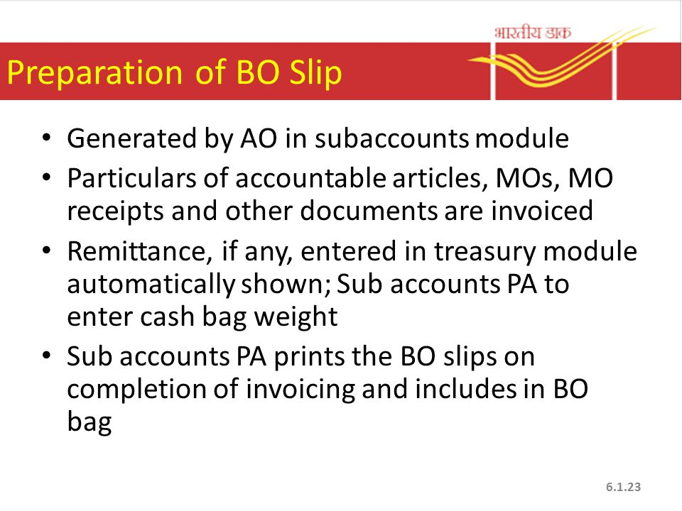 Preparation of BO Slip Generated by AO in subaccounts module