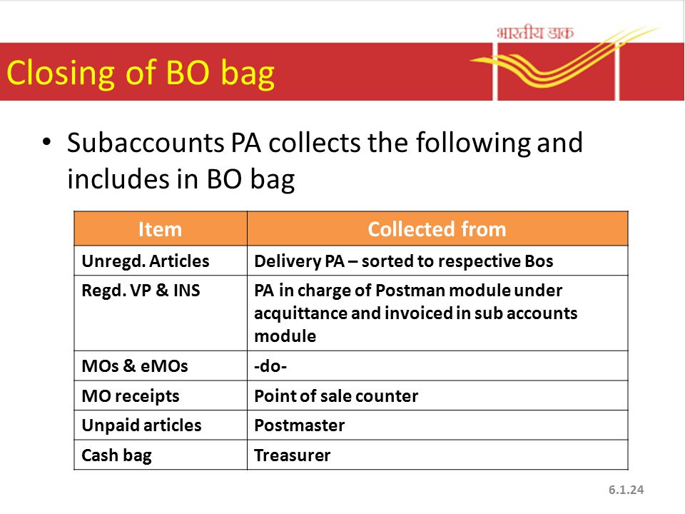 Closing of BO bag Subaccounts PA collects the following and includes in BO bag. Item. Collected from.