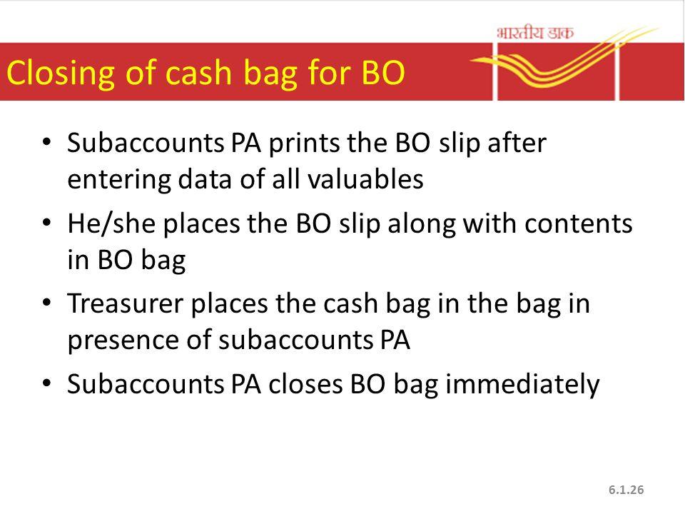 Closing of cash bag for BO