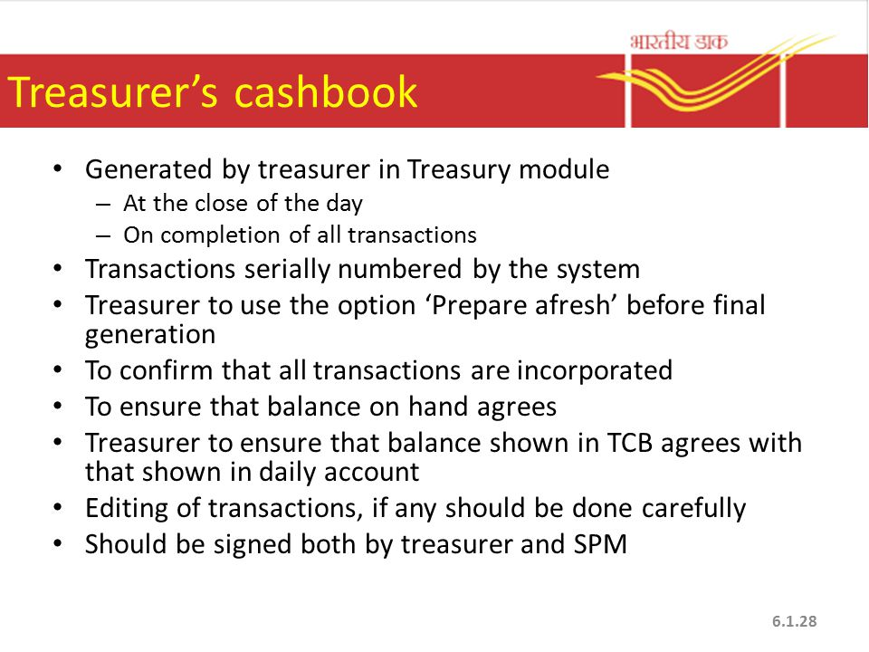 Treasurer's cashbook Generated by treasurer in Treasury module