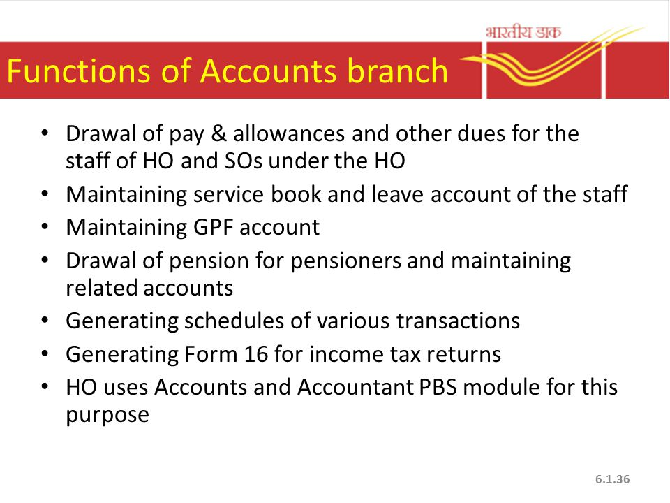 Functions of Accounts branch