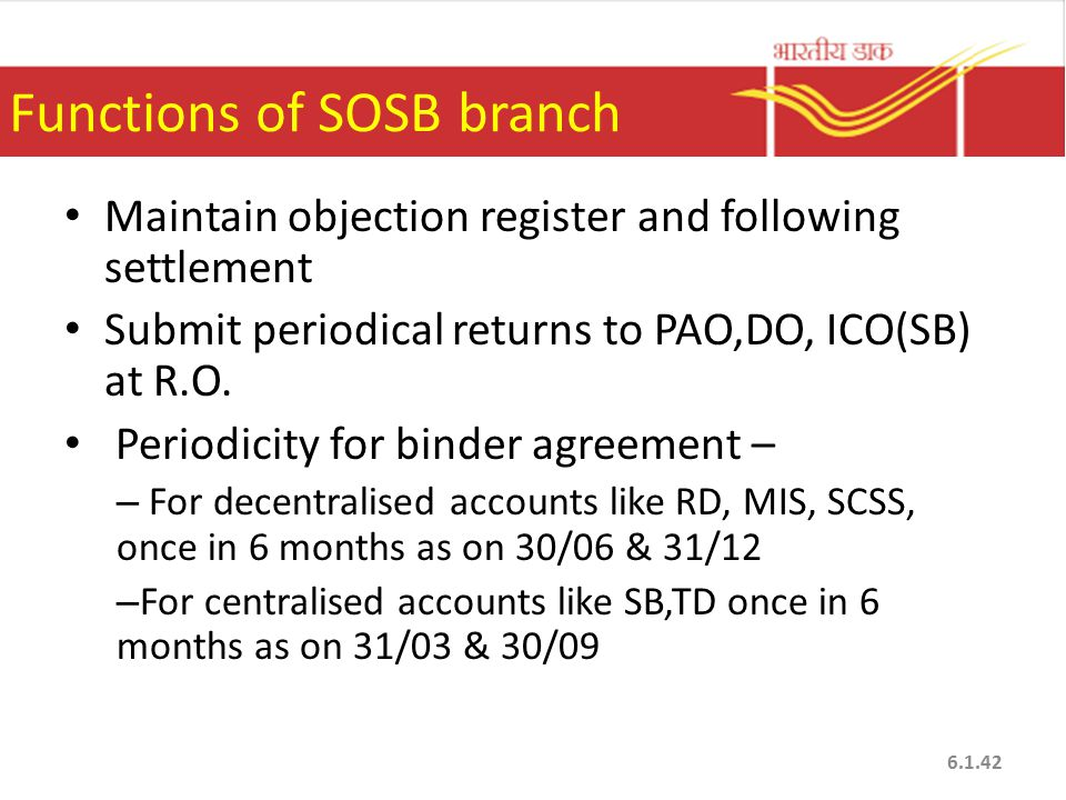 Functions of SOSB branch