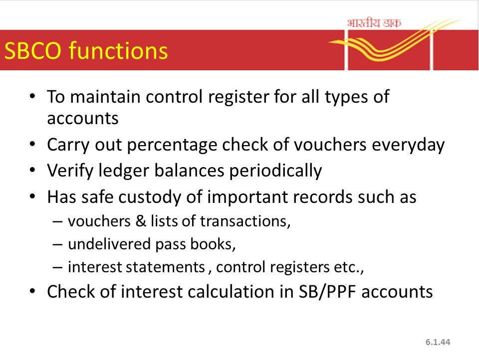 SBCO functions To maintain control register for all types of accounts