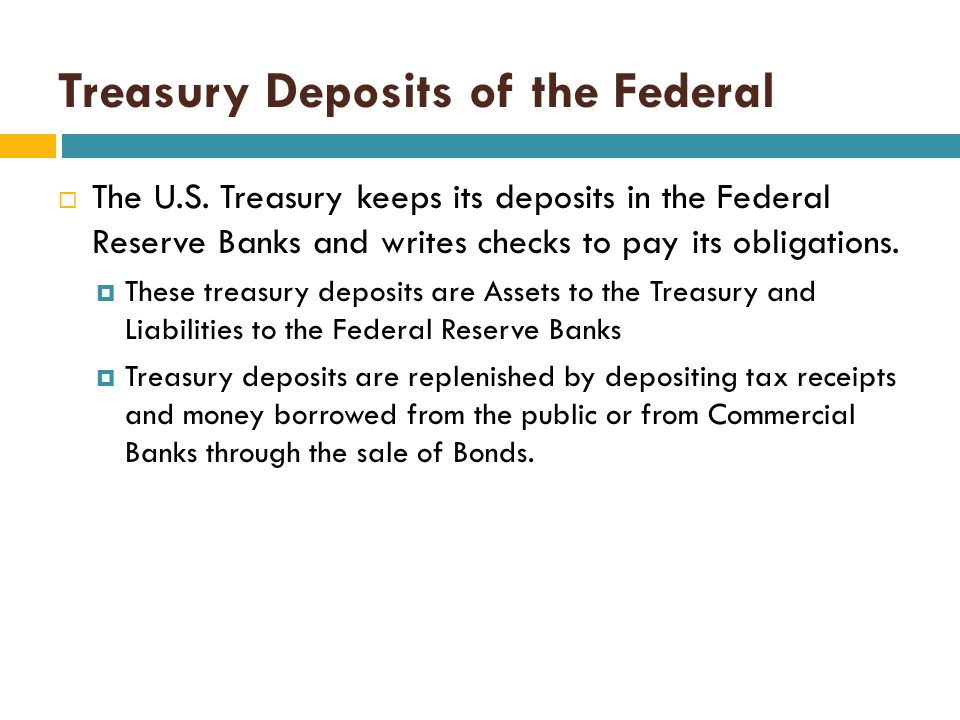 Treasury Deposits of the Federal