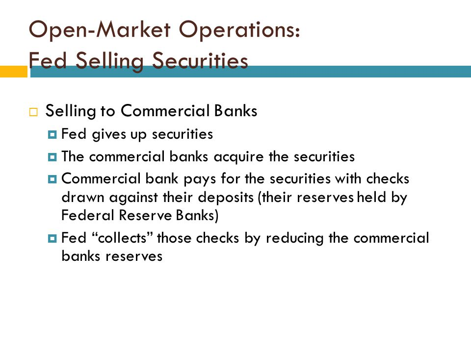 Open-Market Operations: Fed Selling Securities