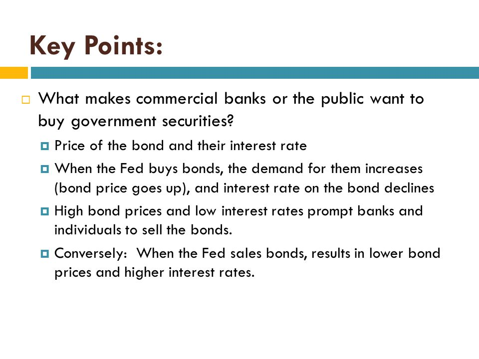 Key Points: What makes commercial banks or the public want to buy government securities Price of the bond and their interest rate.