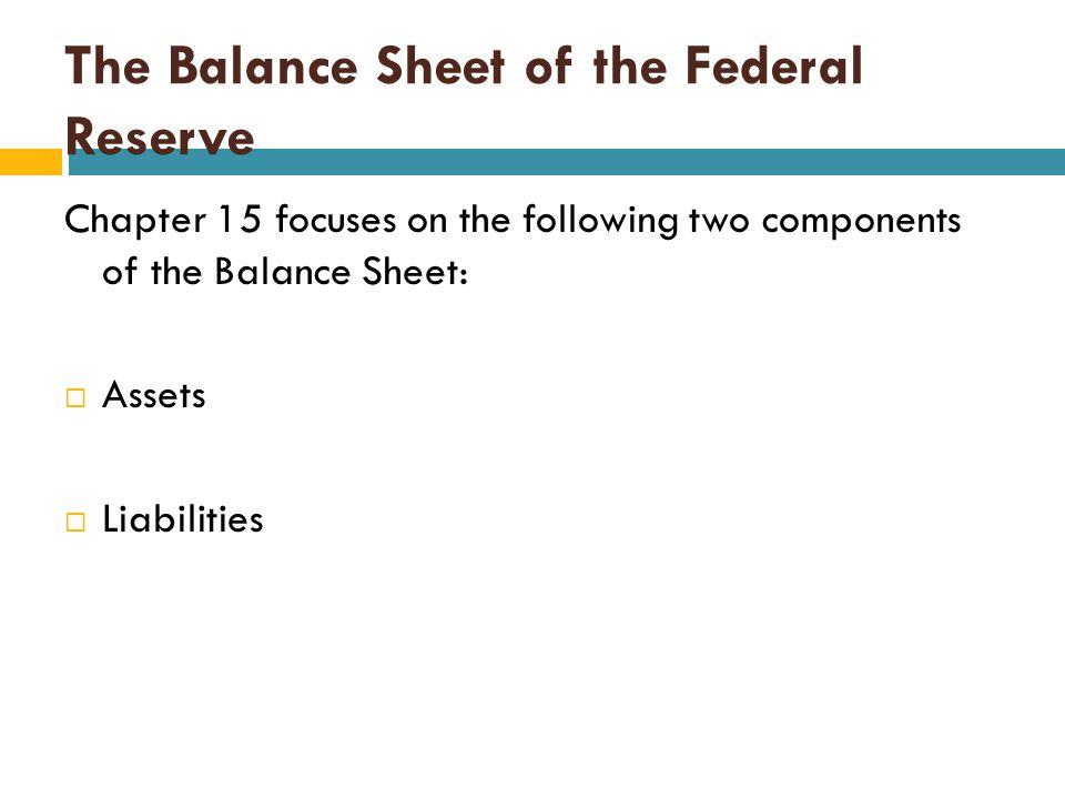 The Balance Sheet of the Federal Reserve