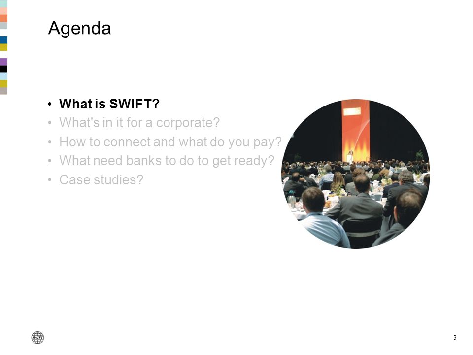 Agenda What is SWIFT What s in it for a corporate