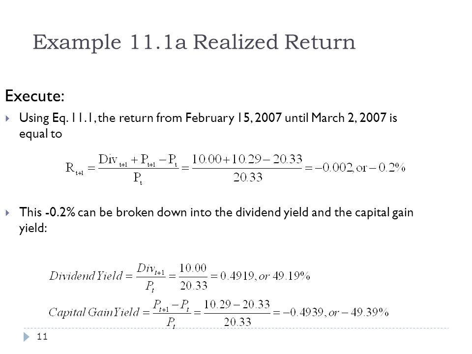 Example 11.1a Realized Return