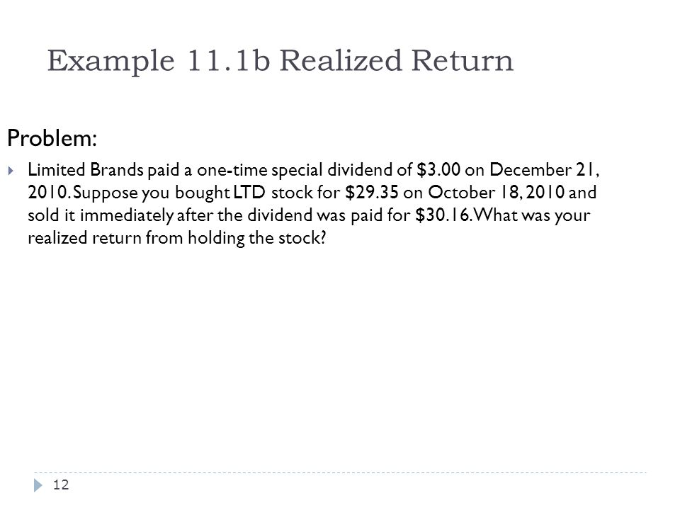 Example 11.1b Realized Return