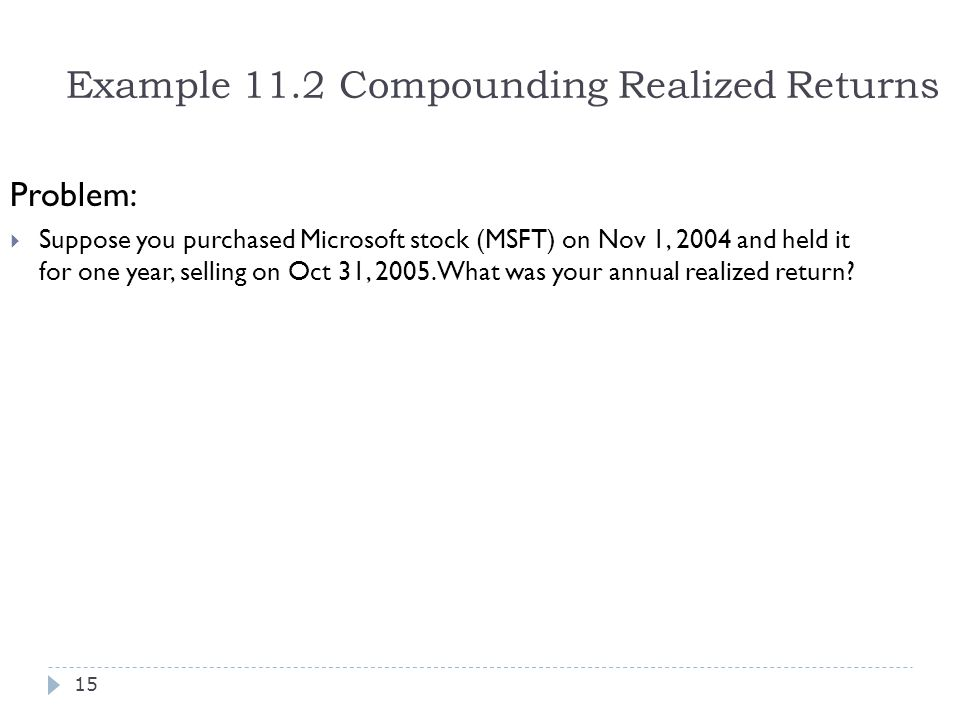 Example 11.2 Compounding Realized Returns