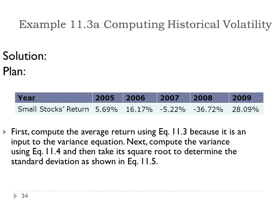 Example 11.3a Computing Historical Volatility