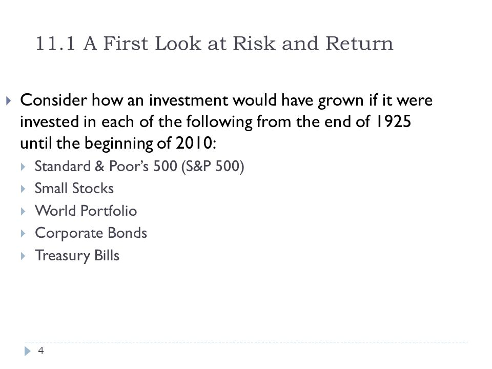 11.1 A First Look at Risk and Return