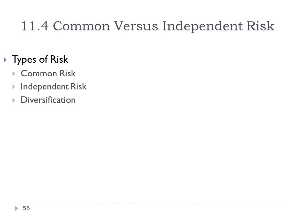 11.4 Common Versus Independent Risk