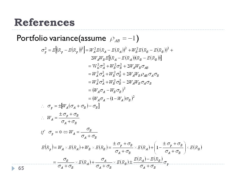 References Portfolio variance(assume )