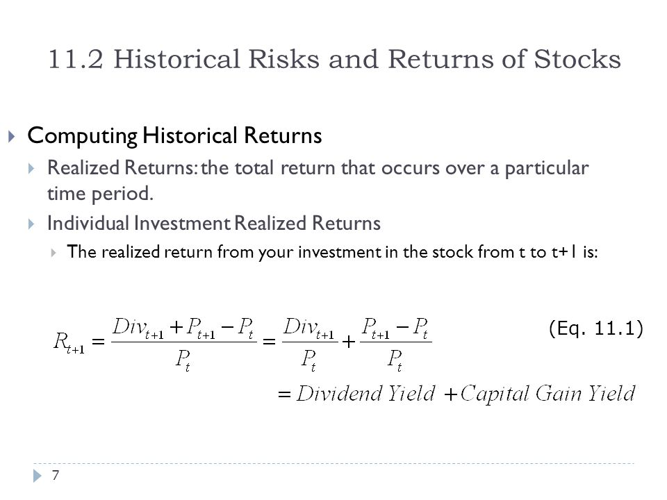 11.2 Historical Risks and Returns of Stocks