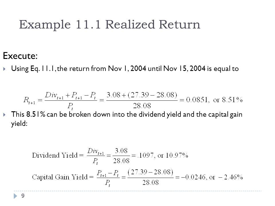 Example 11.1 Realized Return