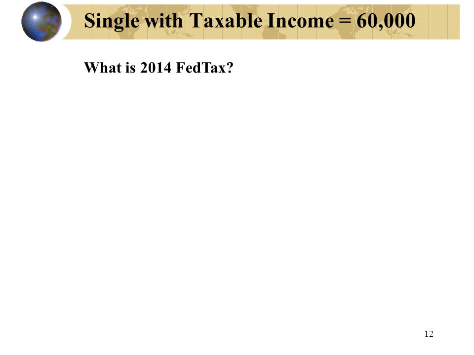 Single with Taxable Income = 60,000