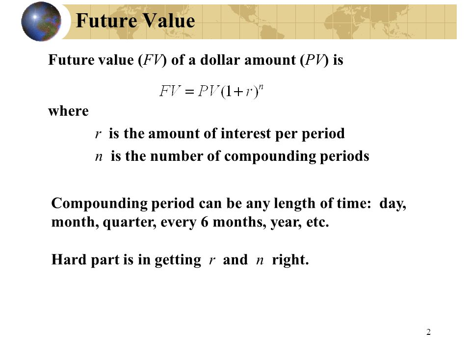 Future Value Future value (FV) of a dollar amount (PV) is where