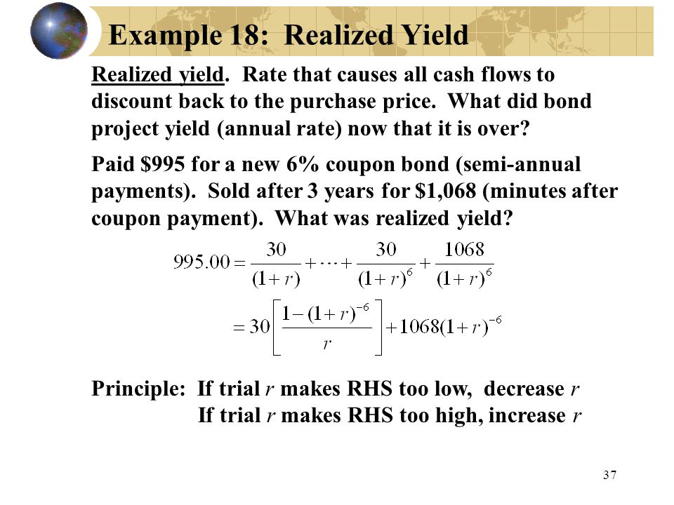 Example 18: Realized Yield