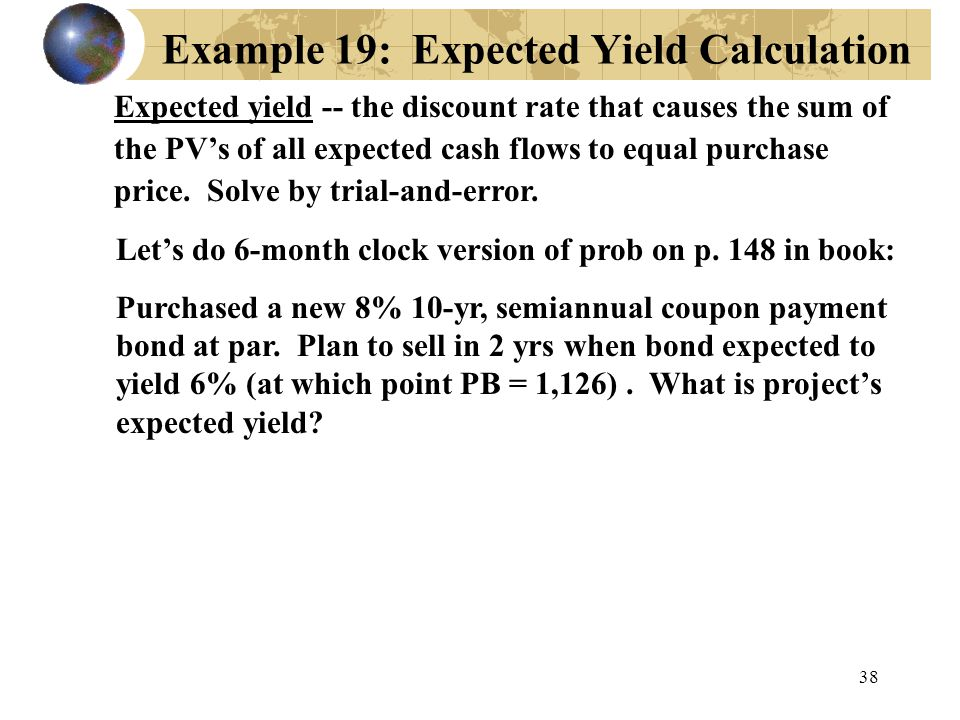 Example 19: Expected Yield Calculation
