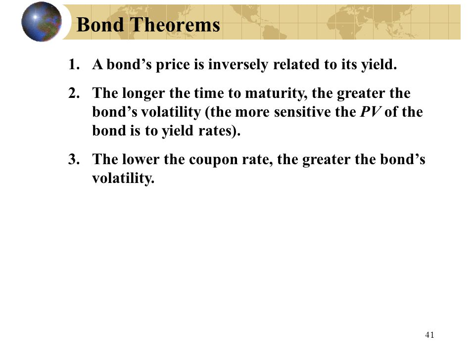 Bond Theorems A bond's price is inversely related to its yield.