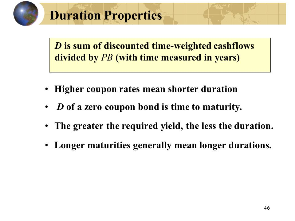 Duration Properties D is sum of discounted time-weighted cashflows divided by PB (with time measured in years)