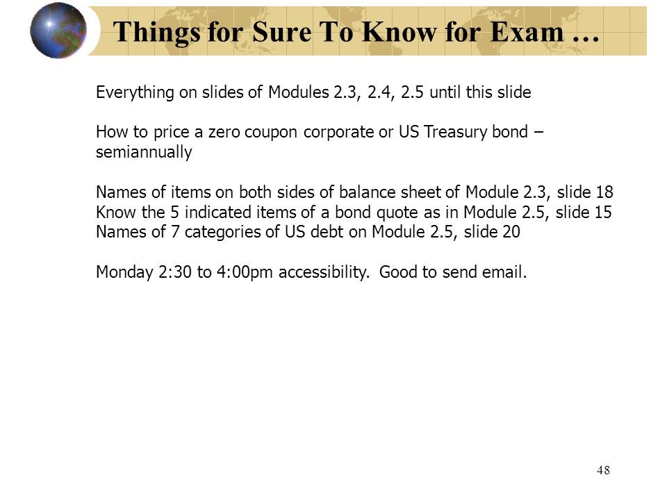 Things for Sure To Know for Exam …