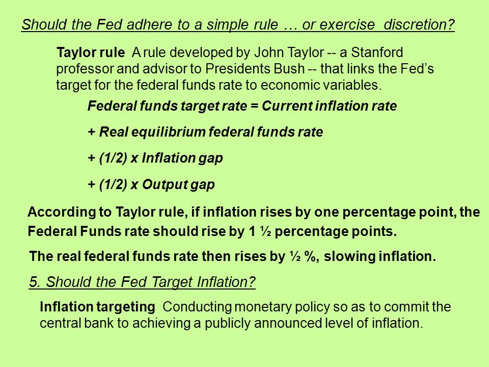 Should the Fed adhere to a simple rule … or exercise discretion