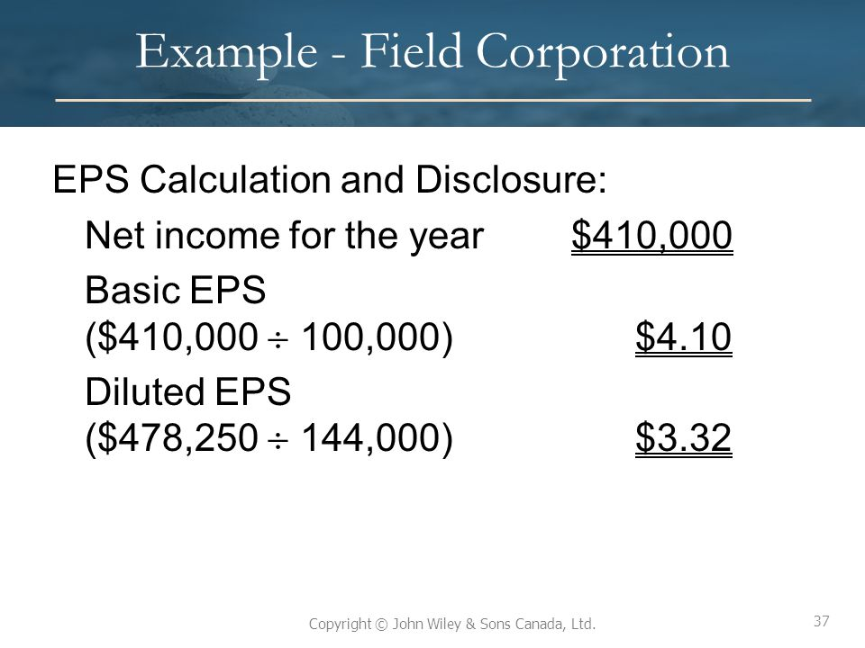 Example - Field Corporation