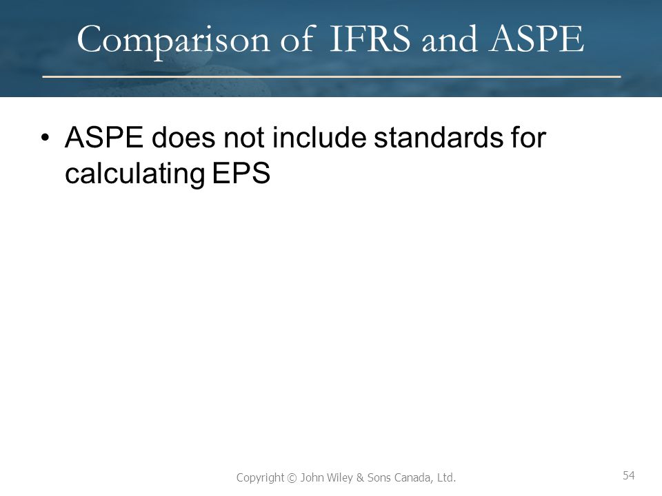 Comparison of IFRS and ASPE