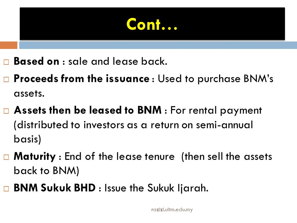Cont… Based on : sale and lease back.