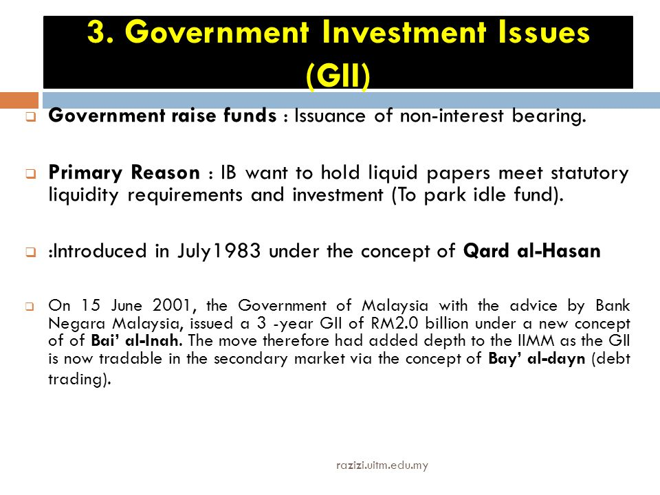 3. Government Investment Issues (GII)
