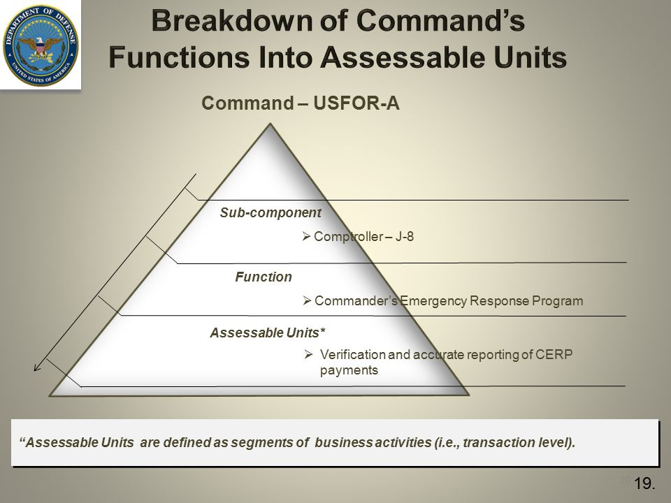 Breakdown of Command's Functions Into Assessable Units