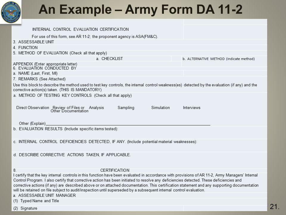 An Example – Army Form DA 11-2