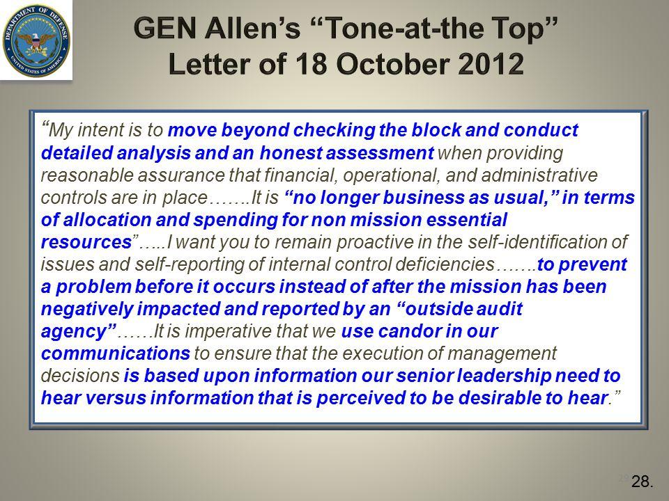 GEN Allen's Tone-at-the Top Letter of 18 October 2012