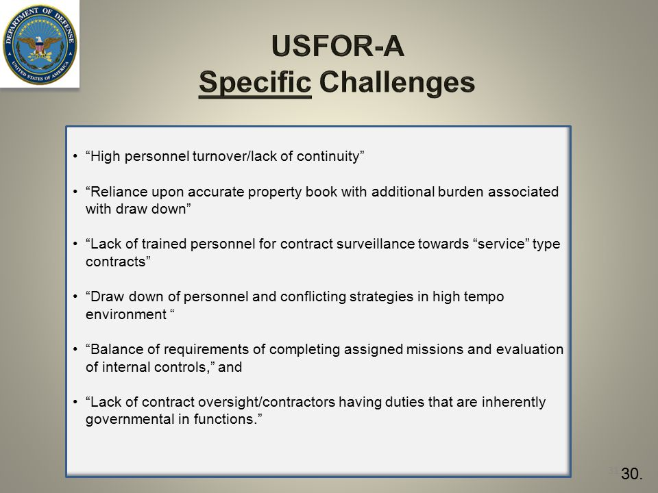 USFOR-A Specific Challenges