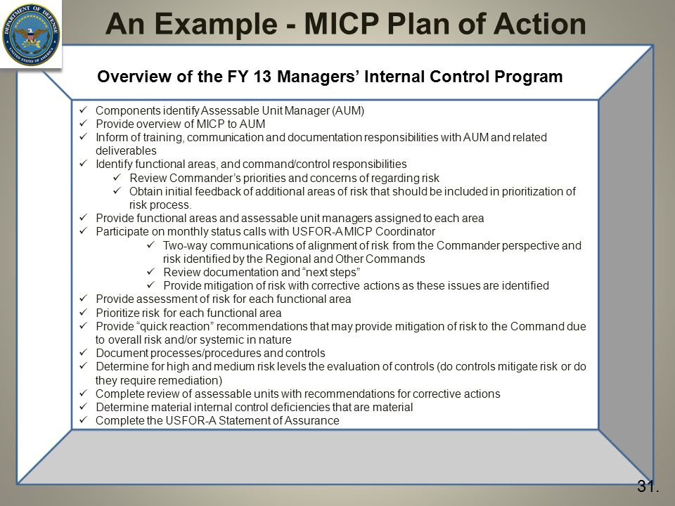 An Example - MICP Plan of Action