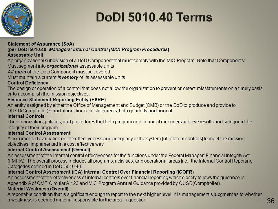 DoDI 5010.40 Terms Statement of Assurance (SoA) (per DoDI 5010.40, Managers' Internal Control (MIC) Program Procedures)