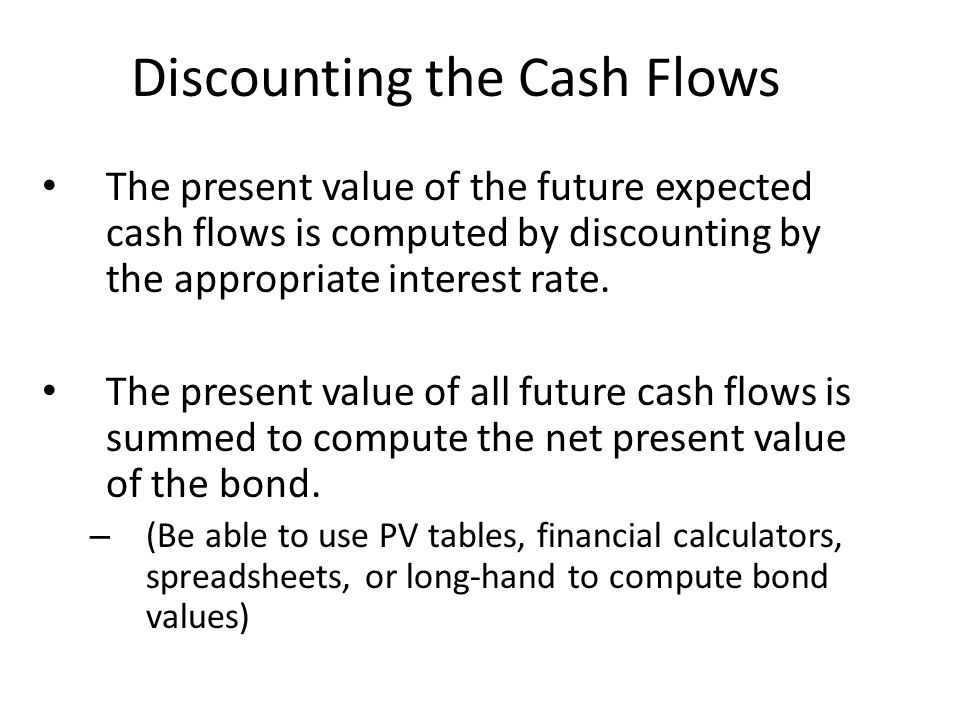 Discounting the Cash Flows